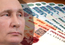 Putin with Rubles in background