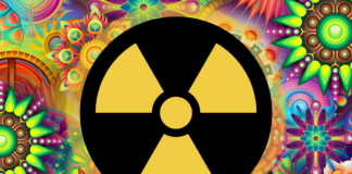 Nuclear reactor symbol with psychedelic image