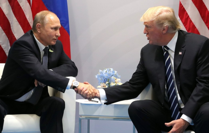 Vladimir Putin and Donald Trump at the 2017 G-20 Hamburg Summit