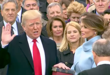 Trump taking his Oath of Office via Wikimedia Commons